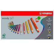 Lápis de Cor 3 em 1 Stabilo Woody 18 Cores 54.7100 27560
