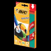Lápis de Cor BIC Evolution 12 Cores + Grátis 4 Lápis Preto 902545 21586