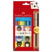 Lápis de Cor Faber-Castell 12 Cores Sextavado + 6 Tons de Pele 120112CC 26243