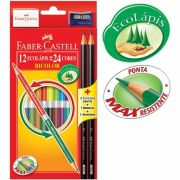 Lápis de Cor Bicolor 24 Cores com 12 Lápis Kit Escolar 120612/2 Faber-Castell 13332