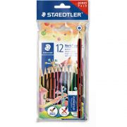 Lápis de Cor Staedtler 12 Cores Sextavado Kit Escolar Wopex 185 Set2 02 28822
