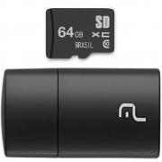 Leitor de Cartão + Smartcard Multilaser 64Gb USB 2.0 MC164 29928