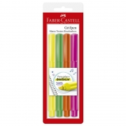 Marcador de Texto Faber-Castell Grifpen 4 Amarelo / Verde / Laranja / Rosa SM/ESZF 27642