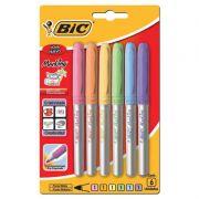 Marcador Permanente BIC Grip Ponta Media Paradise Pastels 6 Un. 891855 26795