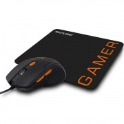 Mouse Gamer Multilaser 3200Dpi Preto / Laranja + Mouse Pad MO274 29872