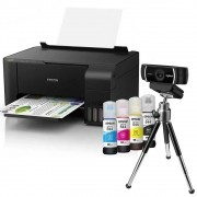 Multifuncional Epson EcoTank L3150 + WebCam Full HD 1080P C922 Logitech