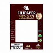 Papel Metallics Filipaper Perola Branco A4 180Gr. 15 Fls 01103 23931