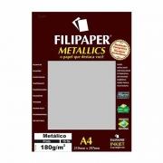 Papel Metallics Filipaper Prata A4 180Gr. 15 Fls 01101 23935