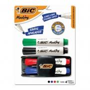 Pincel para Quadro Branco BIC Recarregável Azul + Preto + Verde + Vermelho + Apagador 929784 23567