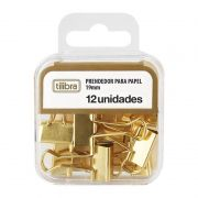 Prendedor de Papel Tilibra Binder 19mm Dourado Com 12 Un. 178250 27473