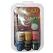 Tinta Facial Liquida Rostino Pintado 6 Cores 15Ml + Glitter + Pincel 1080 28760