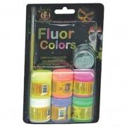 Tinta Facial Liquida Rostinho Pintado 6 Cores Neon 15Ml + Glitter + Pincel 1081 28761