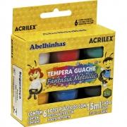 Tinta Guache Acrilex 15ml 6 Cores Fantasia Metallic 02002 16616