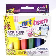 Tinta Tecido Acrilex 35Ml Acripuff 6 Cores 04806 14253