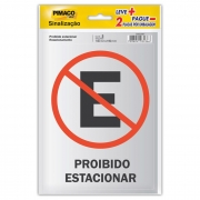 Placa de Sinalização Adesivo Pimaco 14X19Cm Prob.Est/Estacionamento 15718