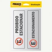 Placa de Sinalização Adesivo Pimaco 6,5X20Cm Proibido Estacionar 15724