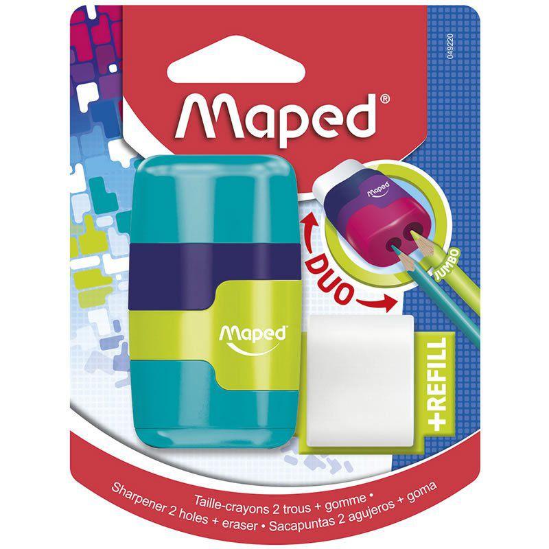 Apontador Com Deposito + Borracha Maped Connect 2 Furos Cores Sortidas 049220 26215