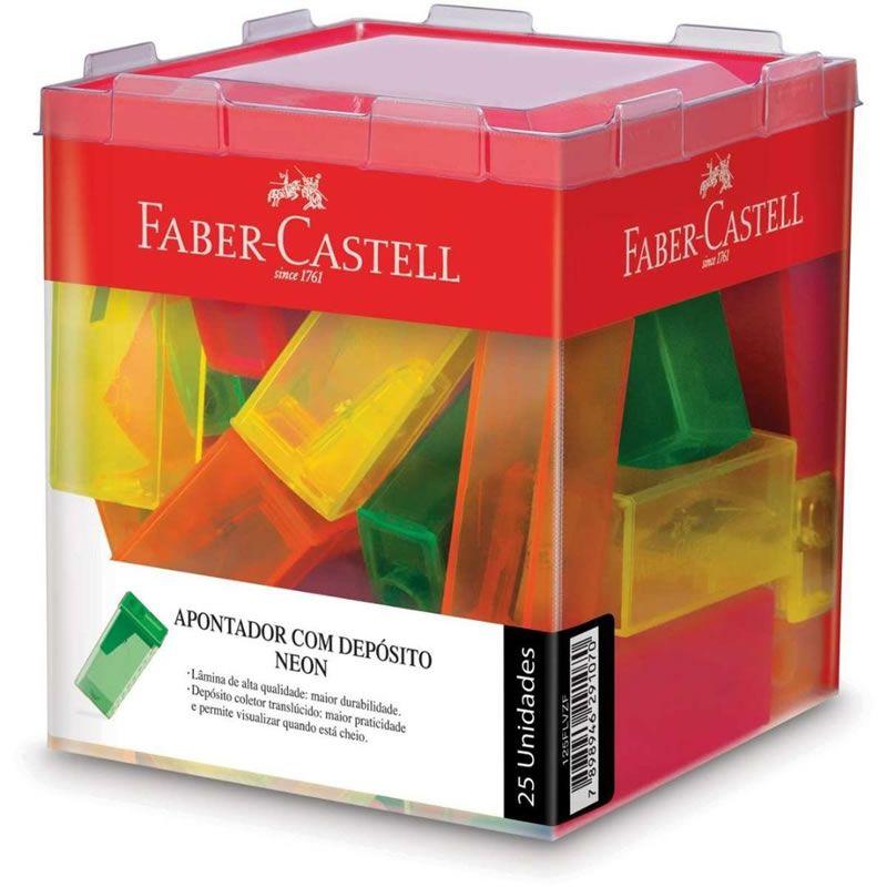 Apontador Com Deposito Faber-Castell 25 Un. Neon Sortido 125FLVZF 03241