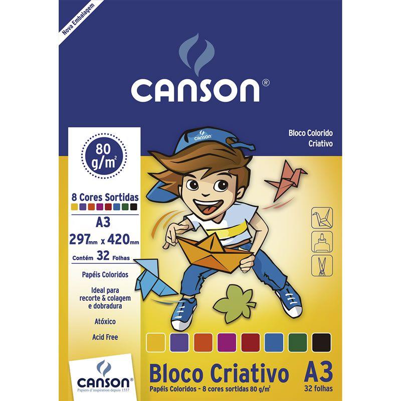 Bloco Canson Colorido Infantil 8 Cores 32 Fls A3 80G 66667089 25128