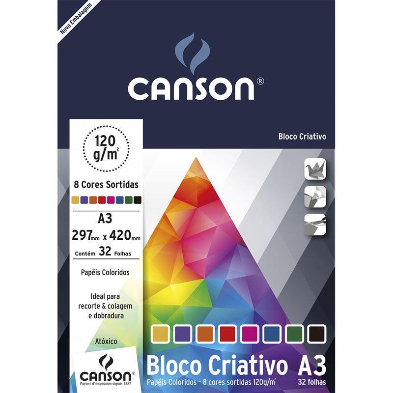 Bloco Canson Criativo 8 Cores Estudante 32 Fls A3 120g 66667161 25127