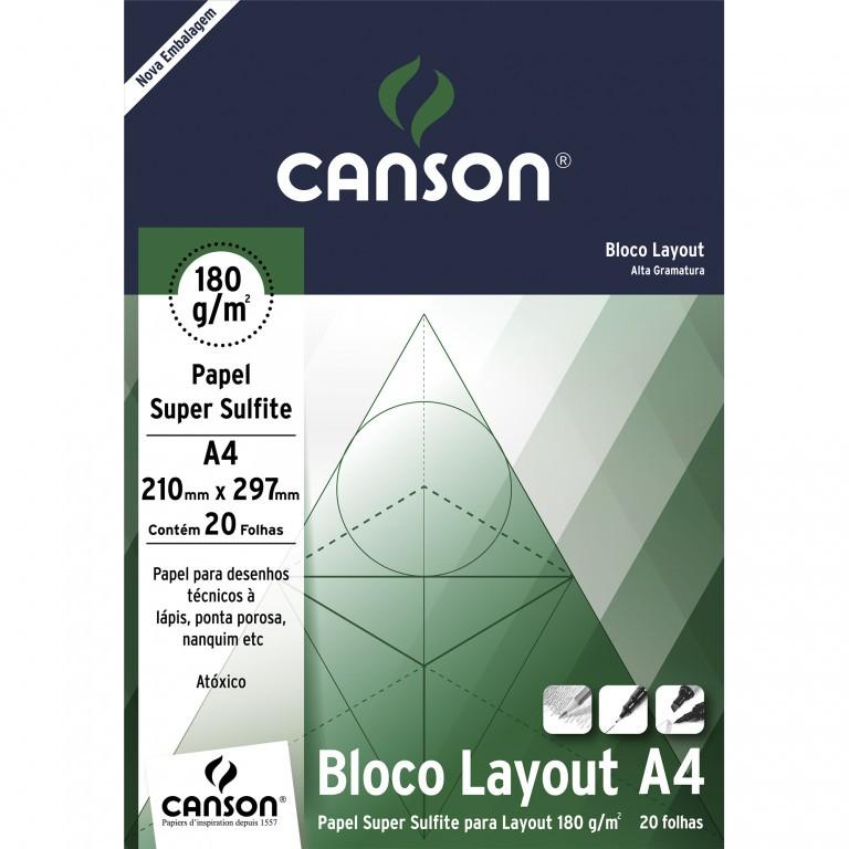 Bloco Canson de Layout Tecnico A4 20 Fls 180G/M2 66667027 27887