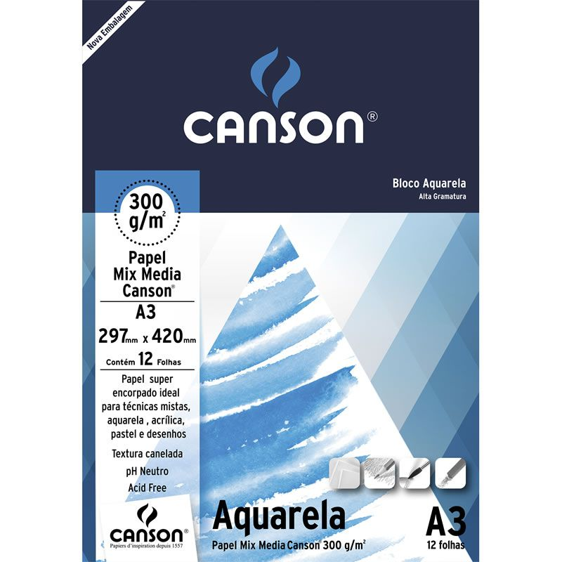 Bloco Canson Para Desenho A3 12 Fls Branco 300G 66667181 24407