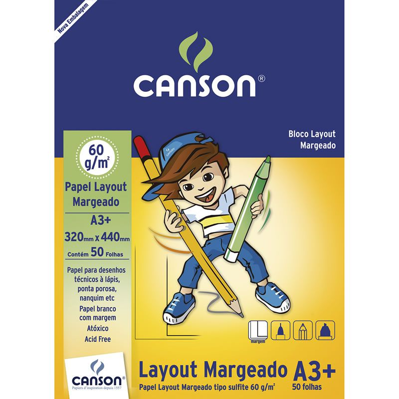 Bloco de Layout A3 com 50 Fls Margeado 63G 66667077 Canson 14124