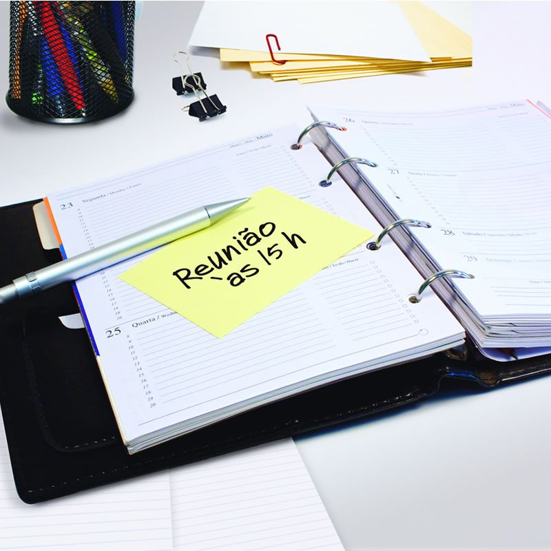 Bloco de Notas Adesivas Post-it® Amarelo - 6 Blocos de 76 mm x 102 mm - 100 folhas 24661