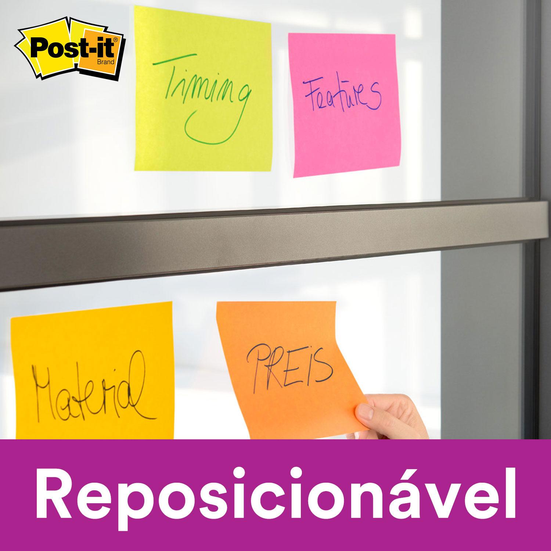 Bloco de Notas Super Adesivas Post-it® Pink Neon 76 mm x 76 mm - 90 folhas 26210