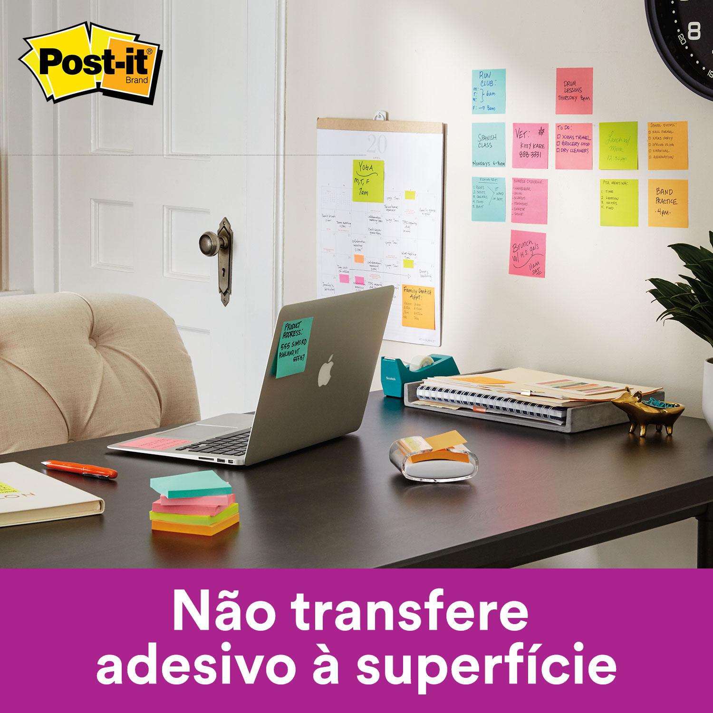 Bloco de Notas Super Adesivas Post-it® Refil Azul Aqua 76 mm x 76 mm - 90 folhas 20540