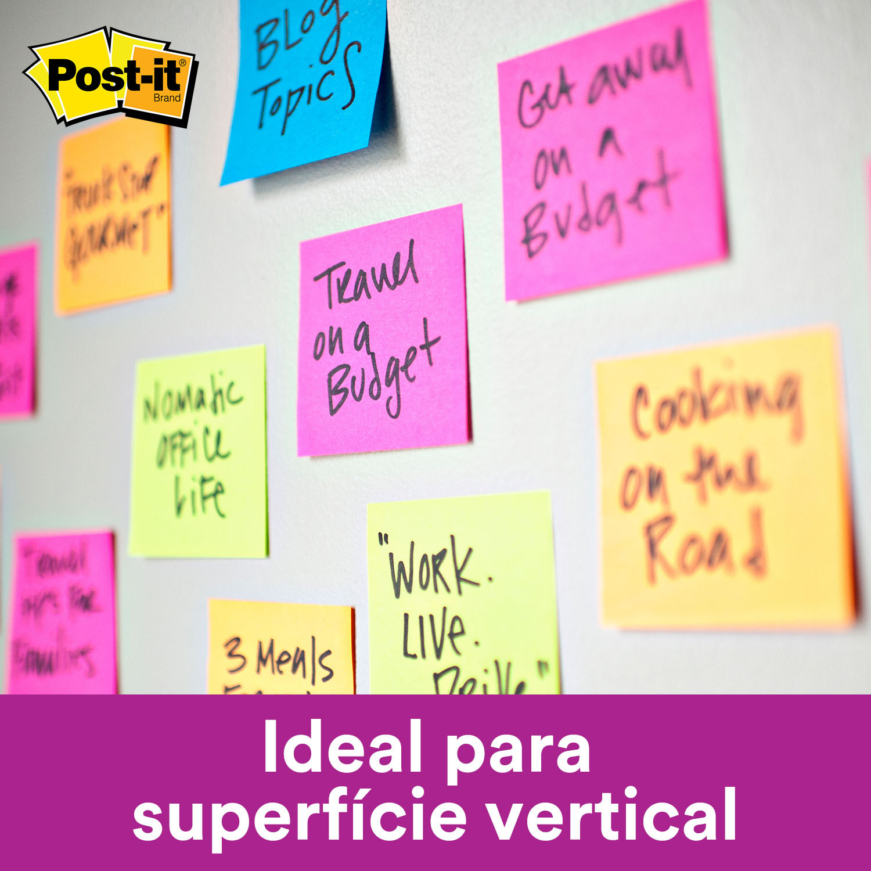 Bloco de Notas Super Adesivas Post-it® Refil Rosa Neon 76 mm x 76 mm - 90 folhas 20539