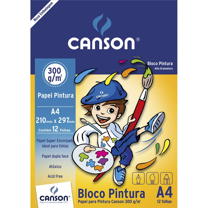 Bloco Escolar Para Pintura A4 300g 12 Fls 66667091 Canson 24963