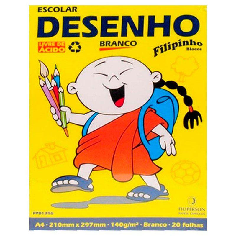 Bloco Filiperson Escolar Desenho Branco 140Gr A4 (210X297) Com 20 Folhas 01396 05416