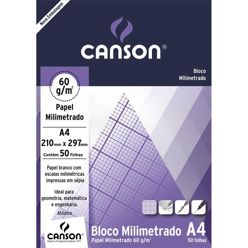 Bloco Milimetrado A4 50 Fls 66667083 Canson 03379