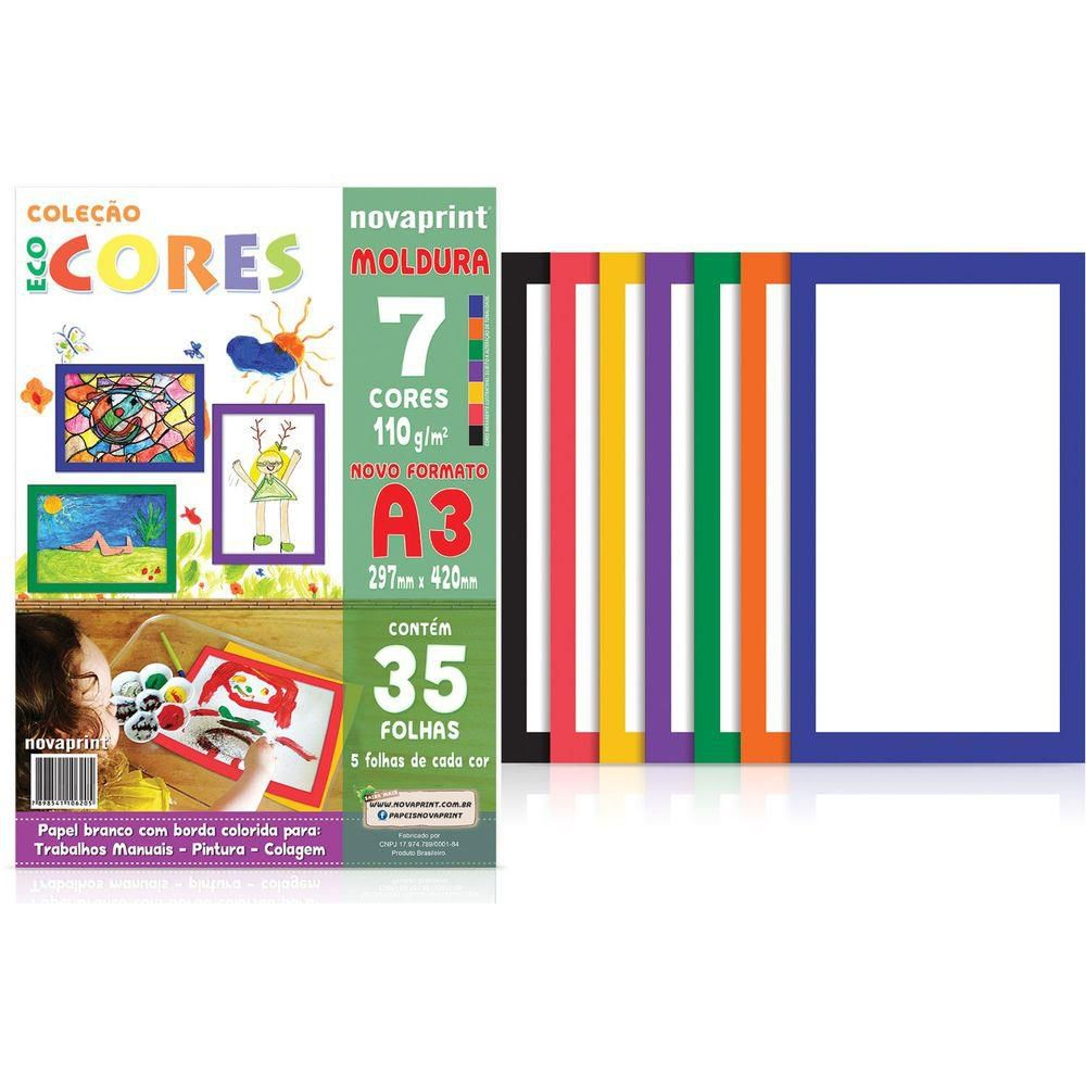 Bloco Novaprint Ecocores Moldura 110Gr A3 7 Cores 35 Fls Eccm0002 28897