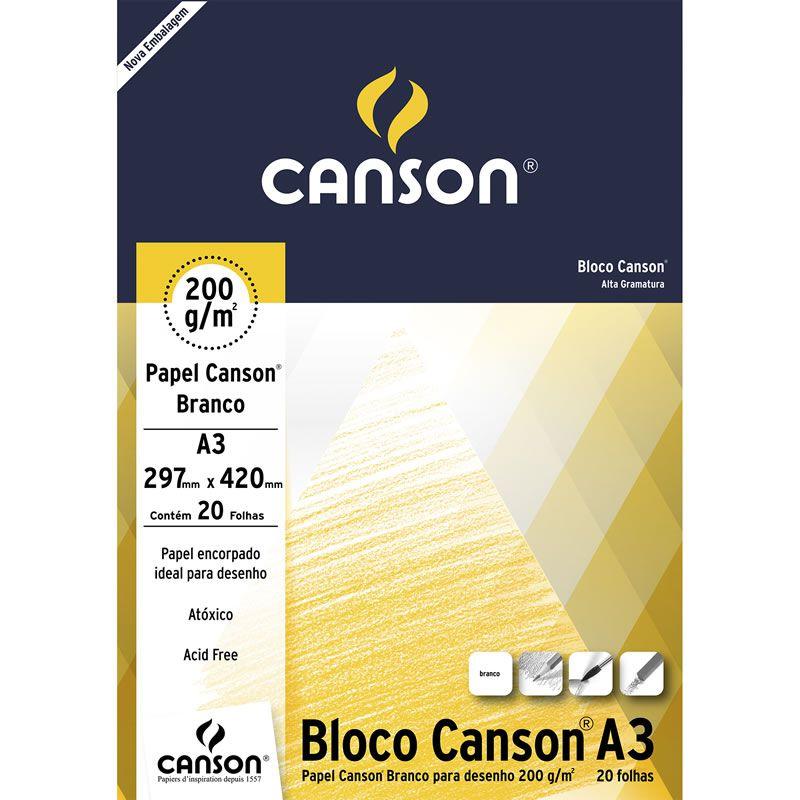 Bloco Para Desenho A3 Branco 200G 20 Fls 66667044 Canson 24404