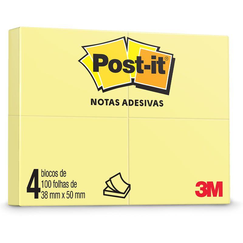 Blocos de Notas Adesivas Post-it® Amarelo - 4 Blocos de 38 mm x 50 mm - 100 folhas cada 01319