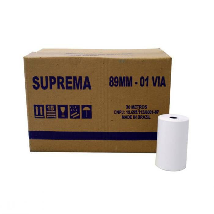 Bobina para Calculadora 89mm X 30m 1 Via 30 Un. Suprema 03541