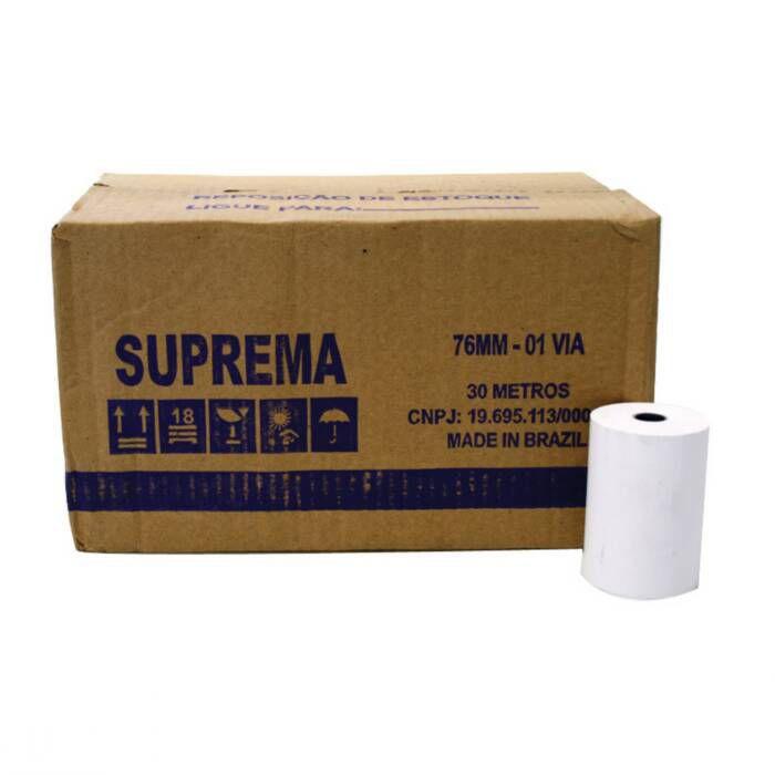Bobina para Calculadora 76mm X 30m 1 Via 30 Un. Suprema 07639