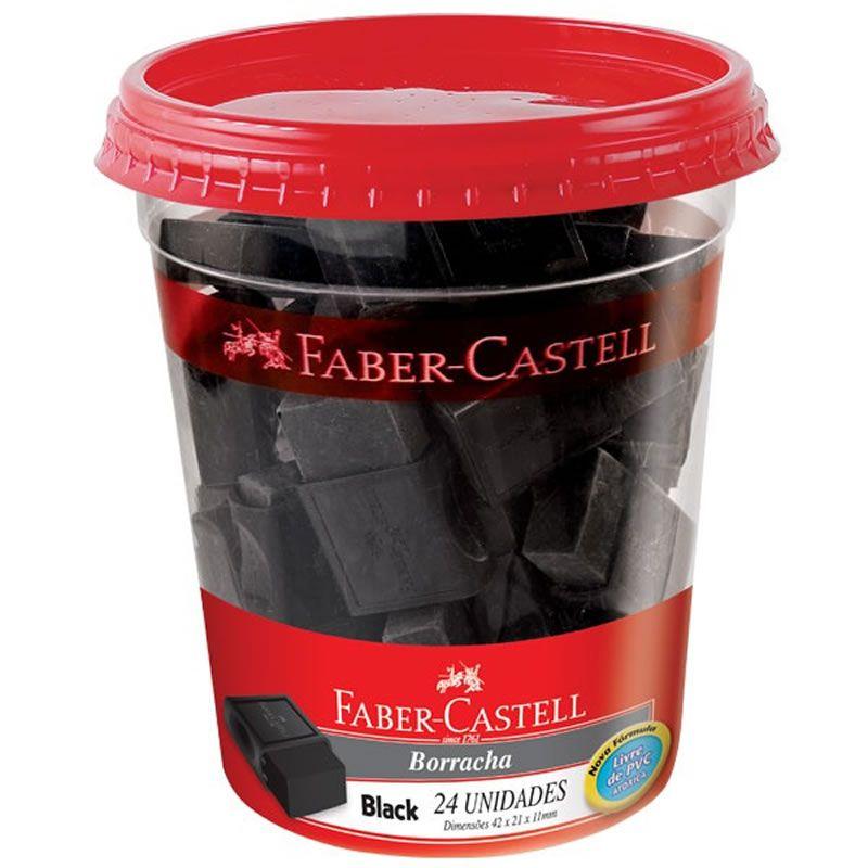 Borracha Faber-Castell Com Capa Max Black Preta 24 Un. 04287