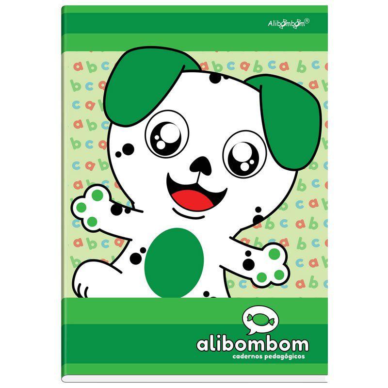 Caderno Alibombom Brochurão Costurado Capa Dura Numerado 1 2 3 Verde 80 Fls 22079