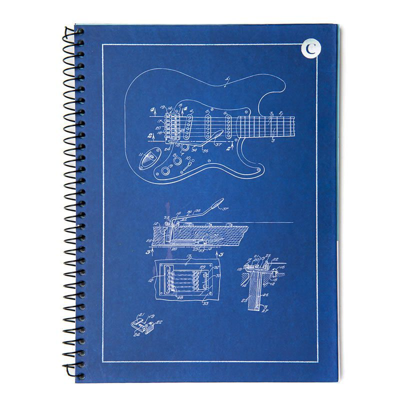 Caderno Cicero Capa Dura Universitário 1X1 Guitarra Azul 80 Fls 6597 26519