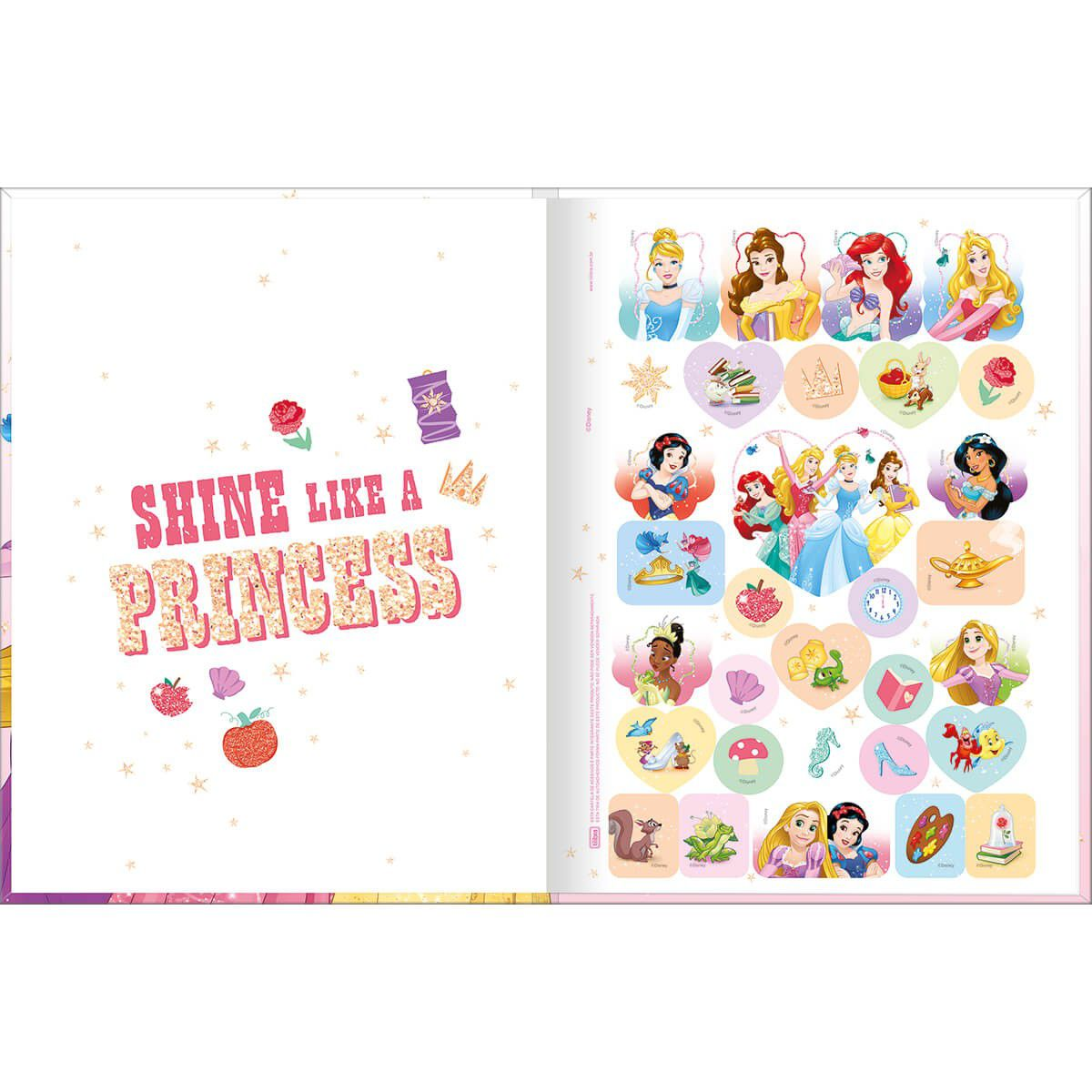 Caderno Tilibra Brochura Capa Dura Costurada Universitário Princesas 80 Fls 308811 27764