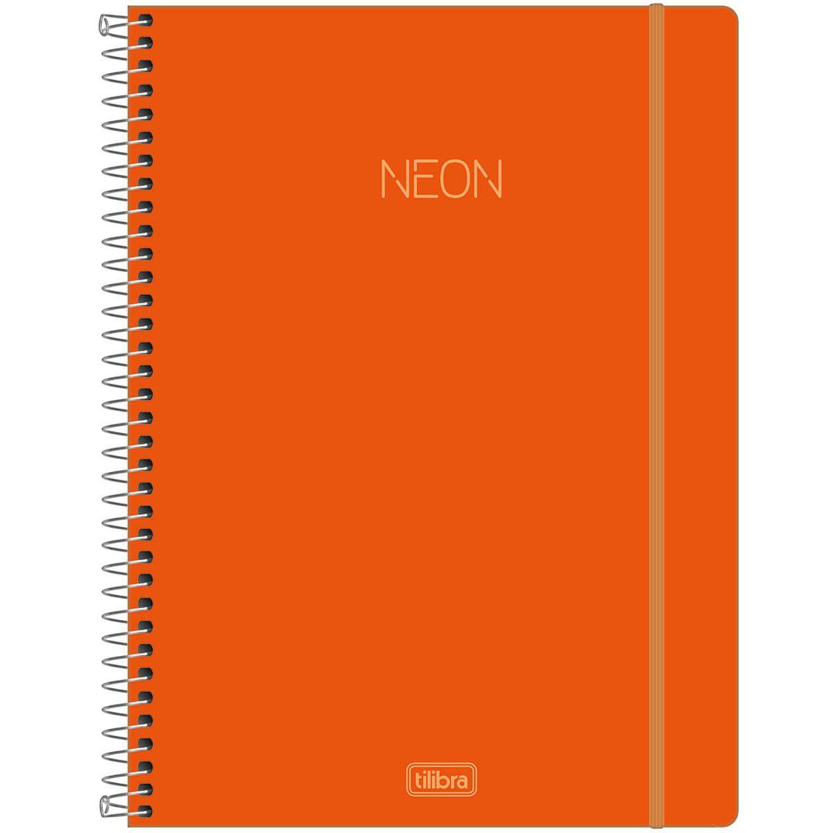 Caderno Espiral Capa Plástica Universitário Neon Laranja  302422 Tilibra 27820