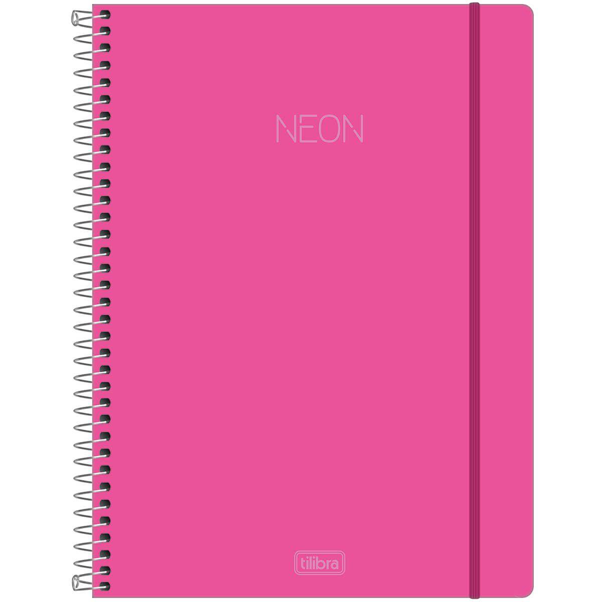 Caderno Tilibra Capa Dura Capa Plastica Universitário Neon Rosa 1M 80 Fls 302473 27815