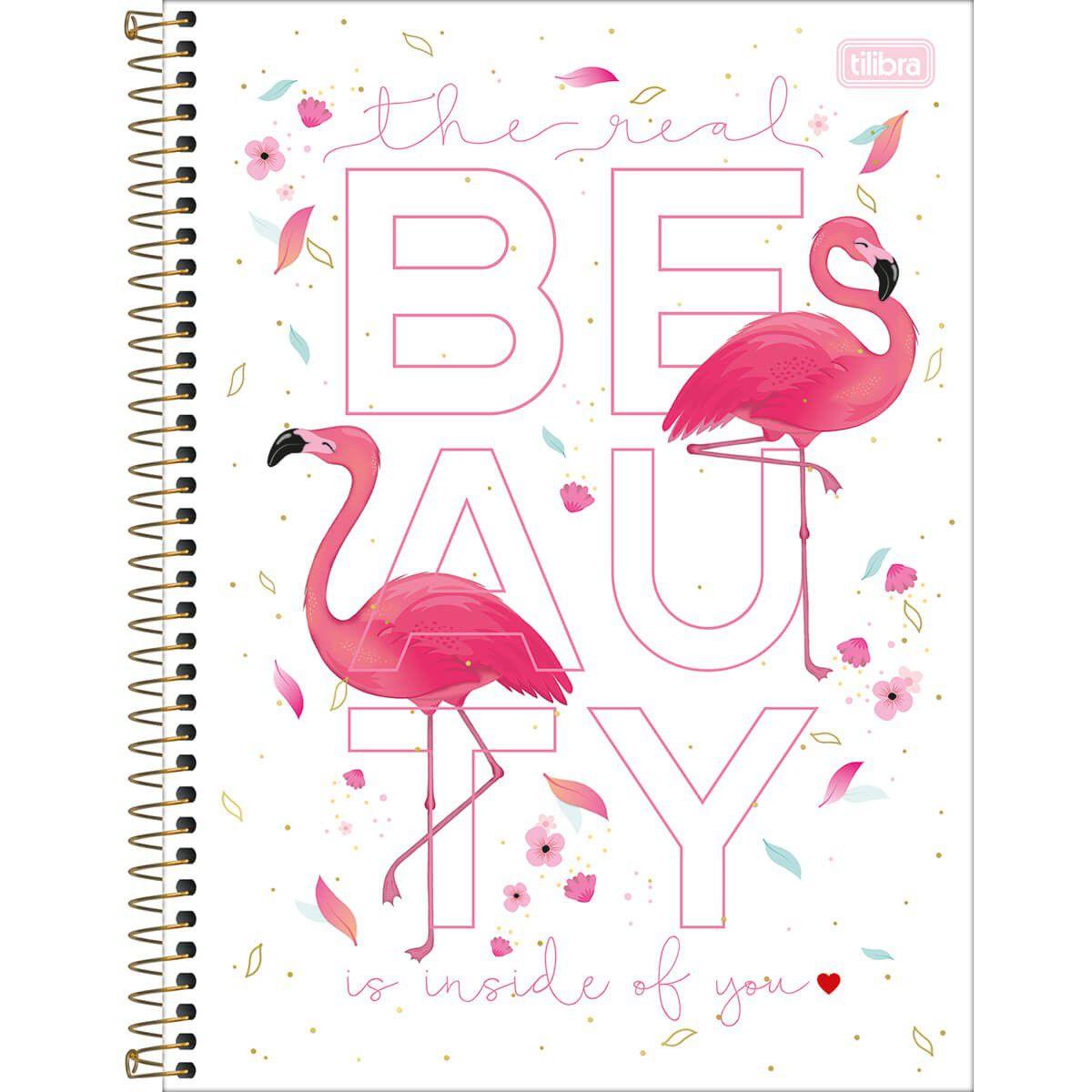 Caderno Tilibra Capa Dura Universitário 1X1 80 Fls Flamingo Aloha 294322 26361