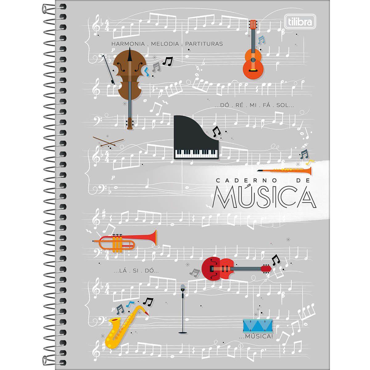 Caderno Tilibra Espiral Capa Dura Universitário Musica 80 Fls 306185 27989