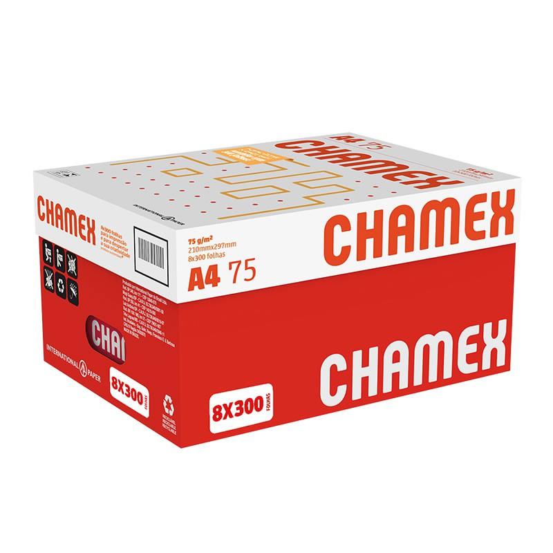 Caixa de Papel A4 Chamex 75g Com 8 Pacotes de 300 Fls