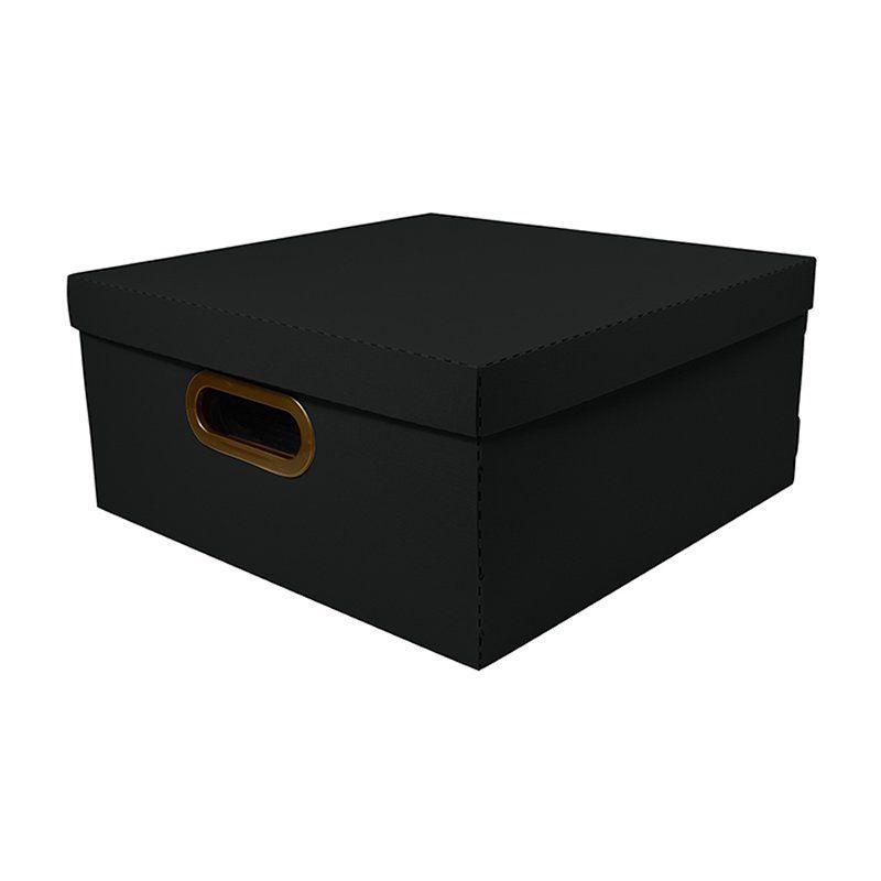 Caixa Organizadora Dello 35X35X16Cm G Linho Preto 2206.P 26199