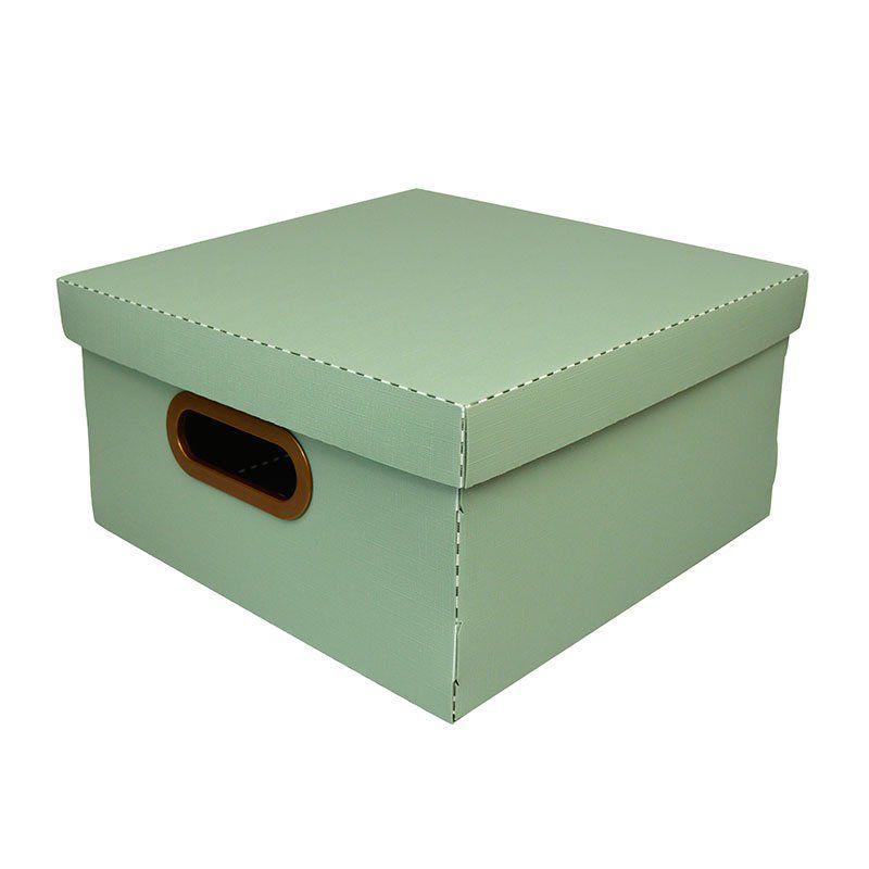 Caixa Organizadora Dello 35X35X16Cm G Linho Verde 2206.V 26196